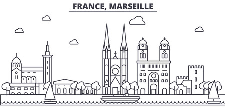 France, Marseille architecture line skyline illustration. Linear vector cityscape with famous landmarks, city sights, design icons. Editable strokes