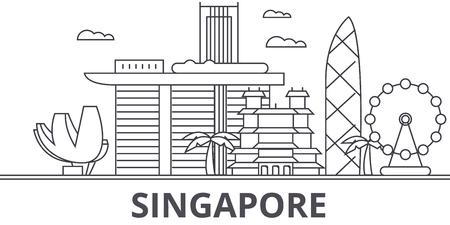 Illustration pour A Singapore architecture line skyline illustration. - image libre de droit