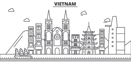 Vietnam architecture line skyline illustration.