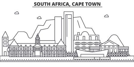 Illustration for South Africa, Cape Town architecture line skyline illustration. - Royalty Free Image
