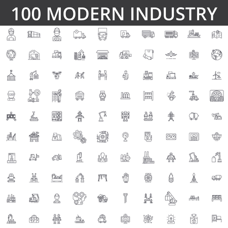 Illustration pour heavy industrial line icons signs Illustration vector concept Editable strokes - image libre de droit