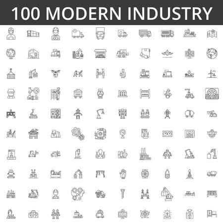 Ilustración de heavy industrial line icons signs Illustration vector concept Editable strokes - Imagen libre de derechos