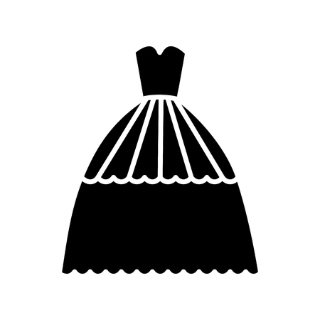 bridal evening dress   icon, vector illustration, black sign on isolated background