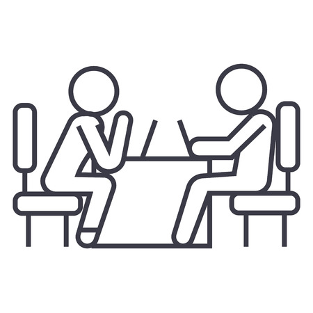 Illustration for Psychologist and patient line icon, sign, symbol, vector on isolated background - Royalty Free Image