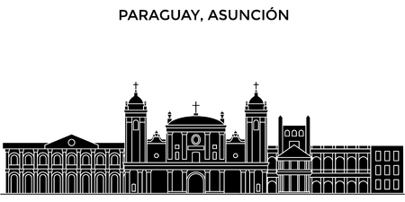 Paraguay, Asuncion architecture vector city skyline, travel cityscape with landmarks, buildings, isolated sights on background