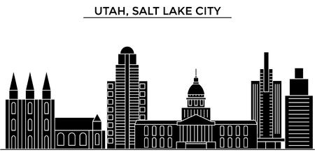Illustration pour Utah, Salt Lake City architecture city skyline - image libre de droit