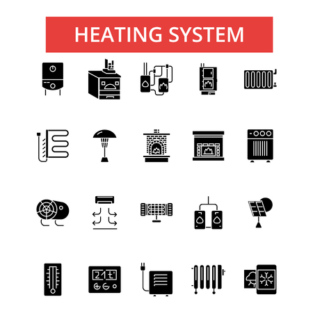 Heating system illustration, thin line icons, linear flat signs, outline pictograms, vector symbols set, editable strokes
