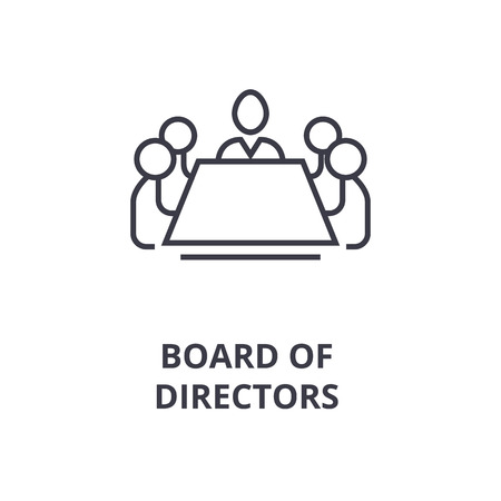 Illustration pour Abstract symbol of board of directors line icon, outline design flat vector illustration - image libre de droit
