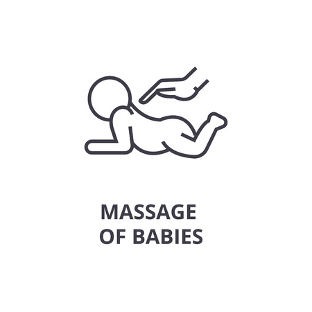 Foto de massage of babies thin line icon, sign, symbol, illustation, linear concept vector  - Imagen libre de derechos