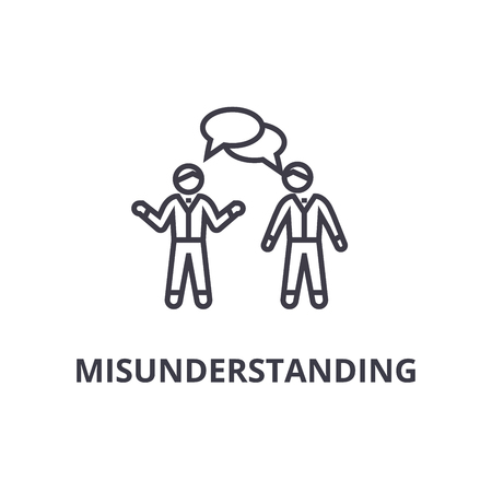 misunderstanding thin line icon, sign, symbol, illustation, linear concept vector