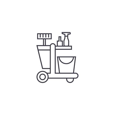 Ilustración de cleaning trolley vector line icon, sign, illustration on white background, editable strokes - Imagen libre de derechos