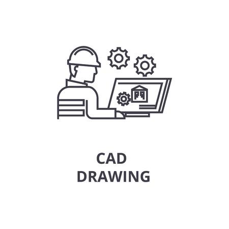 Illustration pour cad drawing vector line icon, sign, illustration on white background, editable strokes - image libre de droit