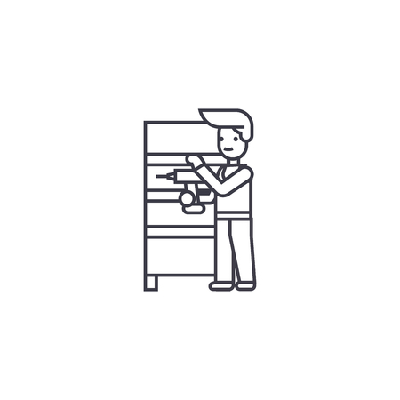 furniture assembly vector line icon, sign, illustration on white background, editable strokes