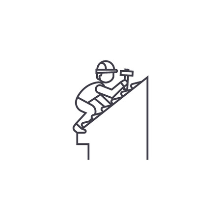 Illustration for roof repair vector line icon, sign, illustration on white background, editable strokes - Royalty Free Image