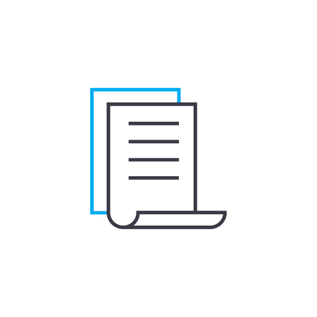 Brief report vector thin line stroke icon. Brief report outline illustration, linear sign, symbol isolated concept.