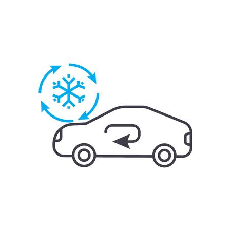 Ilustración de Cooling car system vector thin line stroke icon. - Imagen libre de derechos