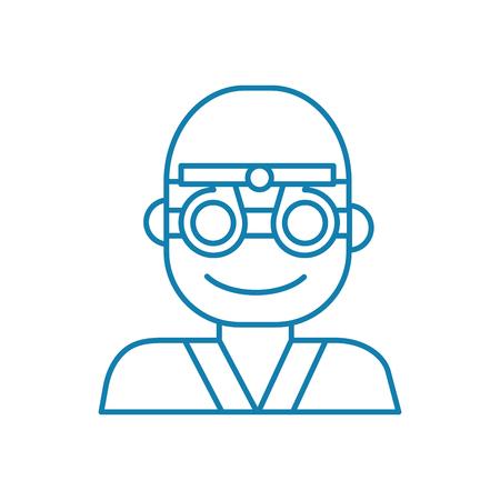 Ocular examination line icon, vector illustration. Ocular examination linear concept sign.
