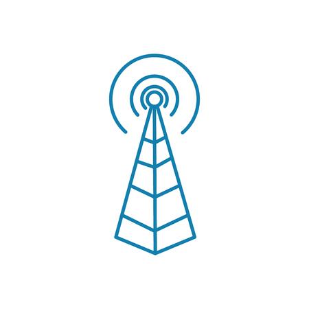 Illustration pour Radio base station line icon, vector illustration. Radio base station linear concept sign. - image libre de droit