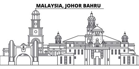 Illustration pour Malaysia, Johor Bahru line skyline vector illustration. Malaysia, Johor Bahru linear cityscape with famous landmarks, city sights, vector design landscape. - image libre de droit