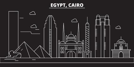 Illustration pour Cairo silhouette, skyline. Egypt - Cairo vector city, egyptian linear architecture, buildings. Cairo line travel illustration, landmarks. Egypt flat icon, egyptian outline design banner - image libre de droit