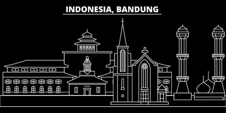 Illustration pour Bandung silhouette skyline. Indonesia - Bandung vector city, indonesian linear architecture, buildings. Bandung line travel illustration, landmarks. Indonesia flat icon, indonesian outline design banner - image libre de droit