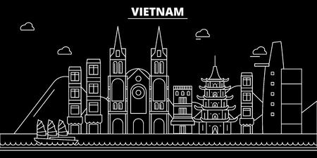 Illustration pour Vietnam silhouette skyline. Vietnam vector city, vietnamese linear architecture, buildingline travel illustration, landmarkflat icon, vietnamese outline design, banner - image libre de droit