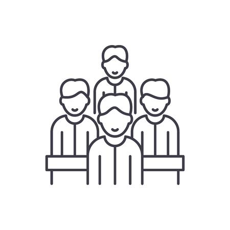 Illustration pour Agile team line icon concept. Agile team vector linear illustration, sign, symbol - image libre de droit