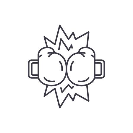 Boxing tournament line icon concept. Boxing tournament vector linear illustration, sign, symbol