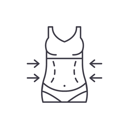 Lose weight line icon concept. Lose weight vector linear illustration, sign, symbol