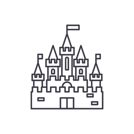Illustration for Princess castle line icon concept. Princess castle vector linear illustration, sign, symbol - Royalty Free Image