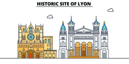 Historic Site Of Lyon  line travel landmark, skyline vector design. Historic Site Of Lyon  linear illustration.