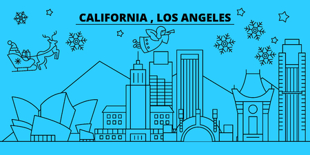 United States, Los Angeles winter holidays skyline. Merry Christmas, Happy New Year decorated banner with Santa Claus.Outline vector.United States, Los Angeles linear christmas city illustration