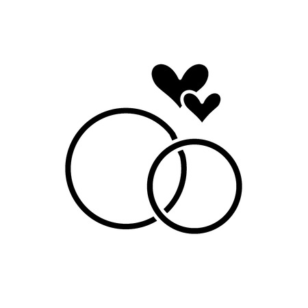 Photo pour Wedding rings black icon, concept vector sign on isolated background. Wedding rings illustration, symbol - image libre de droit