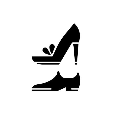 Illustration pour Wedding shoes black icon, concept vector sign on isolated background. Wedding shoes illustration, symbol - image libre de droit