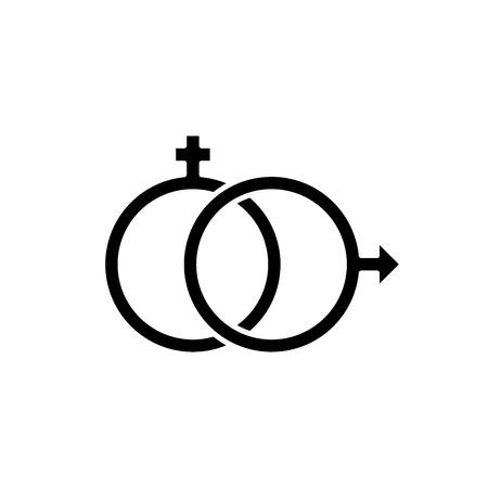 Sexology black icon, concept vector sign on isolated background. Sexology illustration, symbol