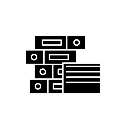 Documentation black icon, concept vector sign on isolated background. Documentation illustration, symbol