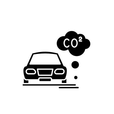 Illustration pour Motor vehicle pollution black icon, concept vector sign on isolated background. Motor vehicle pollution illustration, symbol - image libre de droit