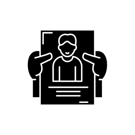 Personnel management black icon, concept vector sign on isolated background. Personnel management illustration, symbol