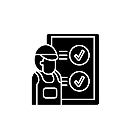 Technical inspection black icon, concept vector sign on isolated background. Technical inspection illustration, symbol