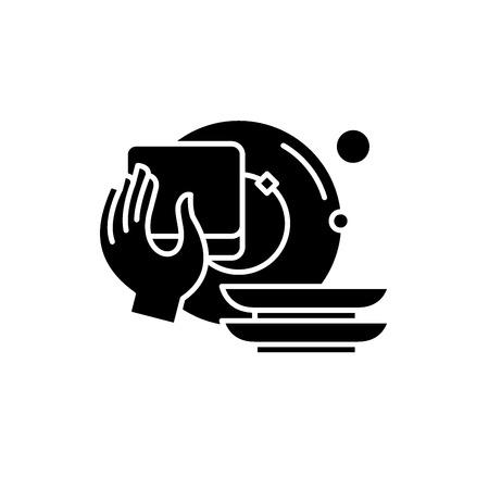 Illustration for Washing dishes black icon, concept vector sign on isolated background. Washing dishes illustration, symbol - Royalty Free Image
