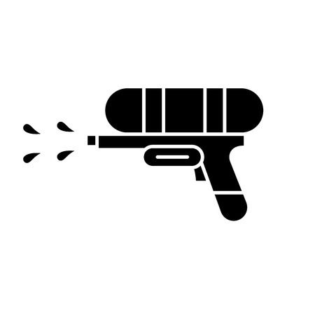 Water gun black icon, concept vector sign on isolated background. Water gun illustration, symbol
