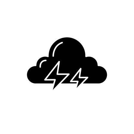 Thunderstorm black icon, concept vector sign on isolated background. Thunderstorm illustration, symbol