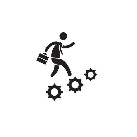 Illustration pour Career advancement black vector concept icon. Career advancement flat illustration, sign, symbol - image libre de droit