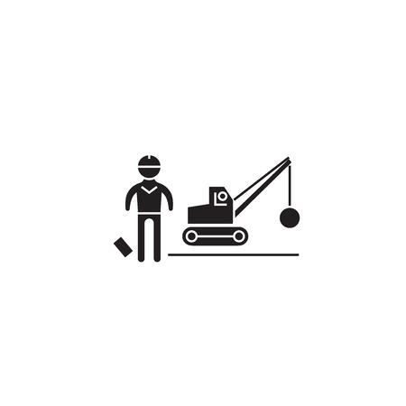 Illustration for Demolition construction black vector concept icon. Demolition construction flat illustration, sign, symbol - Royalty Free Image