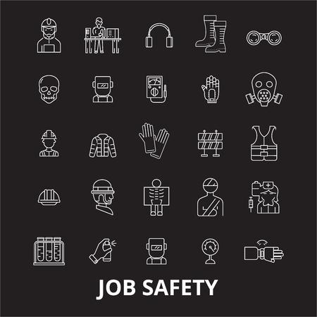Illustration pour Job safety editable line icons vector set on black background. Job safety white outline illustrations, signs,symbols - image libre de droit