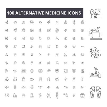 Illustration pour Alternative medicine editable line icons, 100 vector set on white background. Alternative medicine black outline illustrations, signs, symbols - image libre de droit