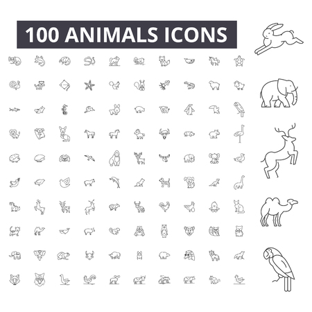 Ilustración de Animals editable line icons, 100 vector set on white background. Animals black outline illustrations, signs, symbols - Imagen libre de derechos