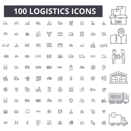 Ilustración de Logistics editable line icons, 100 vector set on white background. Logistics black outline illustrations, signs, symbols - Imagen libre de derechos