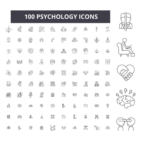 Ilustración de Psychology editable line icons, 100 vector set on white background. Psychology black outline illustrations, signs, symbols - Imagen libre de derechos
