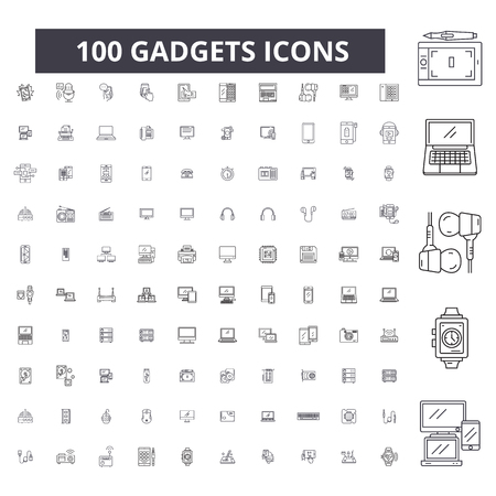 Illustration pour Gadgets editable line icons, 100 vector set on white background. Gadgets black outline illustrations, signs, symbols - image libre de droit